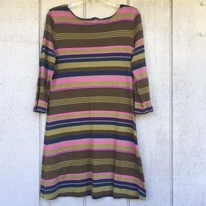 Patagonia organic cotton horizontal striped dress.